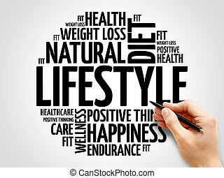 livsstil, ord, moln, fitness