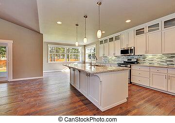 livssynet, hos, den, luksus, moderne, køkken, ind, en, splinterny, house.