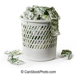 lixo, com, dólares