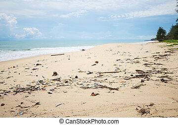 lixo, ligado, a, sujo, praia, natureza