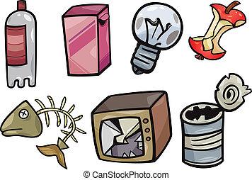 lixo, objetos, jogo, caricatura, ilustração