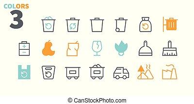 lixo, pictograma, simples, 24x24, stroke., pronto, perfeitos, teia, 48x48, ícones, apps, well-crafted, pixel, mínimo, 1-1, esboçado, editable, parte, grade, gráficos, linha, vetorial, magra