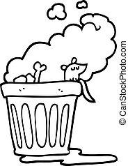 lixo, pretas, lata, fedorento, branca, caricatura