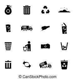lixo, vetorial, pretas, jogo, ícones