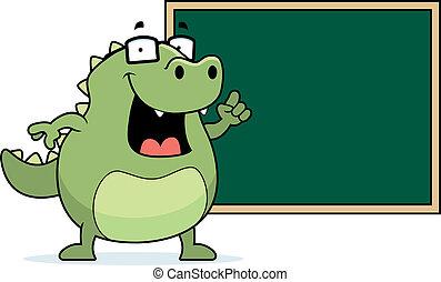 A happy cartoon lizard at the blackboard.