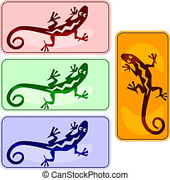 lizard buttons - vector buttons with lizards in american...