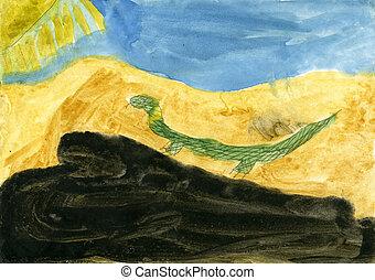 """lizard"", enfants, dessins"