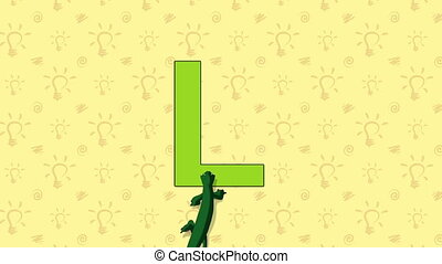 Lizard. English ZOO Alphabet - letter L - Animated English...
