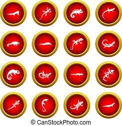 Lizard icon red circle set