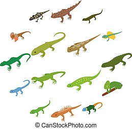 Lizard icons set, isometric 3d style