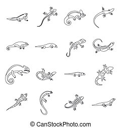 Lizard icons set, outline style