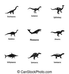 Lizard icons set, simple style - Lizard icons set. Simple...