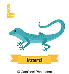 lizard., l, letter., かわいい, 子供, 動物, アルファベット, 中に, vector., 面白い, 漫画, 動物
