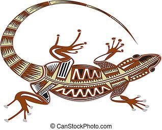 Lizard. - Maori design lizard.