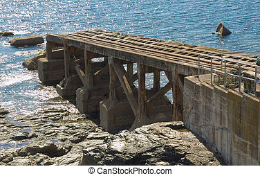 Lizard Point Old Lifeboat Slipway in Cornwall UK
