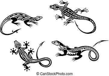 Lizard reptiles set in trbal style for tattoo or mascot design