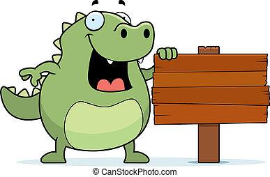 Lizard Sign - A happy cartoon lizard standing next to a...