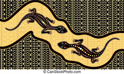 Lizard vector, Aboriginal art background with lizard, Landscape Illustration based on aboriginal style of dot painting.