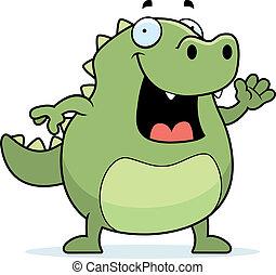 Lizard Waving - A happy cartoon lizard waving and smiling.