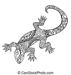 Lizard with many patterns for coloring book, isolated on white background.