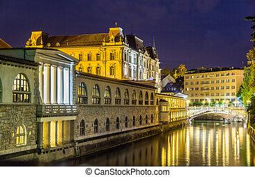 ljubljana, スロベニア, 光景, -, 夜