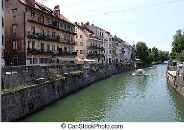 ljubljana, 中心, slovenia., 都市ビジネス, 光景, 国, river., 文化, 中心