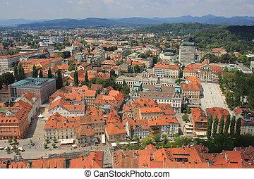 ljubljana, 光景, 歴史的, 中心, スロベニア
