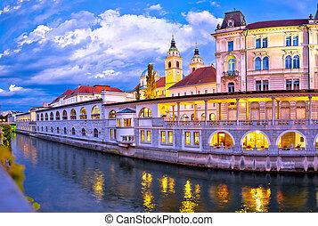 ljubljana, 夕方, 建築, riverfront, 光景