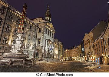 ljubljana, 市役所, 夜