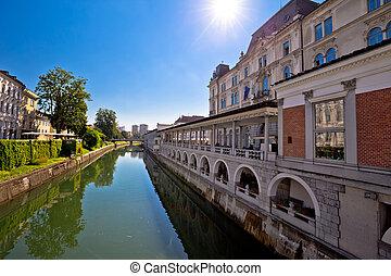 ljubljana, 都市, 川, riverfront, 光景