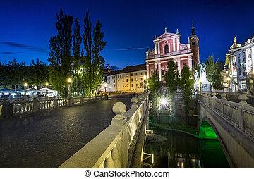 ljubljana, 都市, tromostovje, 中心, スロベニア