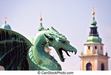 Ljubljana - capital city of Slovenia - Dragon - symbol of...