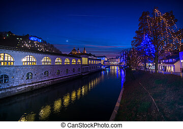 Ljubljana, capital of Slovenia in christmas decoration