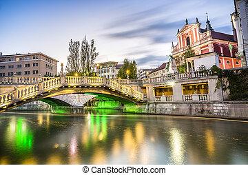Ljubljana Landmark Tromostovje in the city center Slovenia