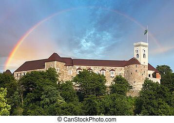 ljubljana, europe, slovénie, château