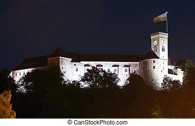 ljubljana, kasteel, op de avond, slovenië, europa