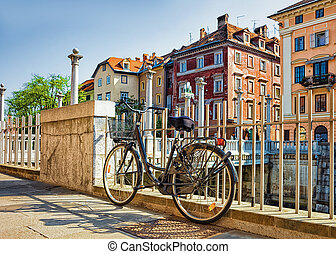 ljubljana, ljubljanica, 川, 自転車, 堤防