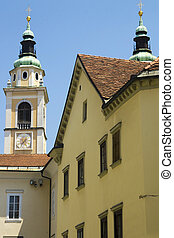 Scene in the historic old town of the capital of Slovenia