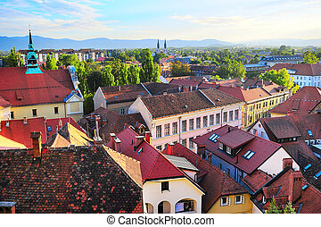 Top view of Ljubljana old town at sunset, Slovenia