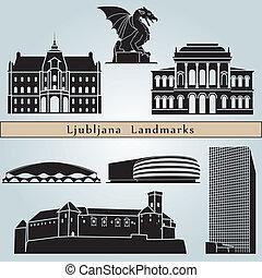 ljubljana, señales, y, monumentos