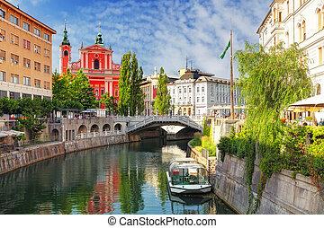 ljubljana, -, slovenië, (church, en, rivier, ljubljanica)