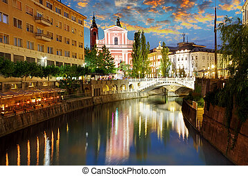 Ljubljana at a twiligth - capital town of Slovenia