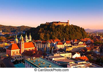 Panorama of the Slovenian capital Ljubljana at sunset