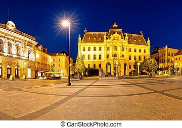 Ljubljana square and landmarks evening panoramic view