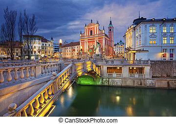 Ljubljana. - Image of Ljubljana, Slovenia during twilight...