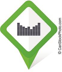 ljud, 10, fyrkant, eps, vektor, grön fond, vit, pekare, shadow., ikon