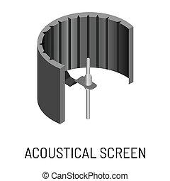 ljud, acoustical, avskärma, isolerat, anteckna utrustning,...