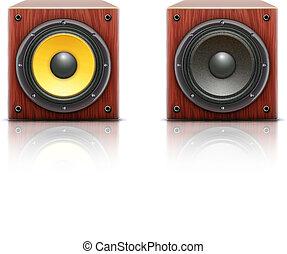 ljud, högtalare, högt