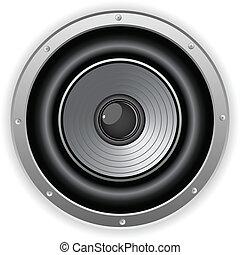 ljud, högtalare, runda, isolerat