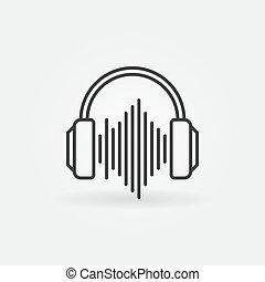 ljud, skissera, hörlurar, våg, vektor, icon., underteckna, linjär